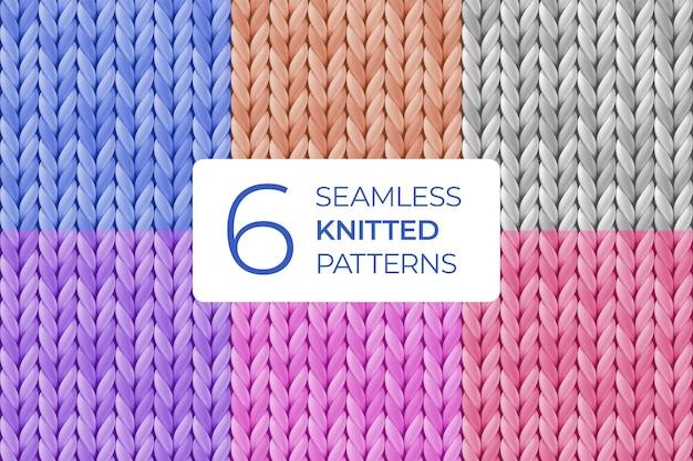 Conjunto de padrão de malha sem costura realista multicolorido.