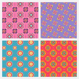 Conjunto de padrão de mandala indiano diwali