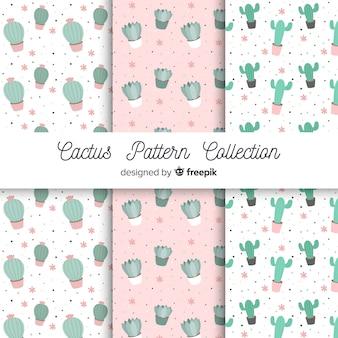 Conjunto de padrão de mão desenhada cacto