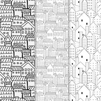Conjunto de padrão de mão desenhada com fundo da cidade.