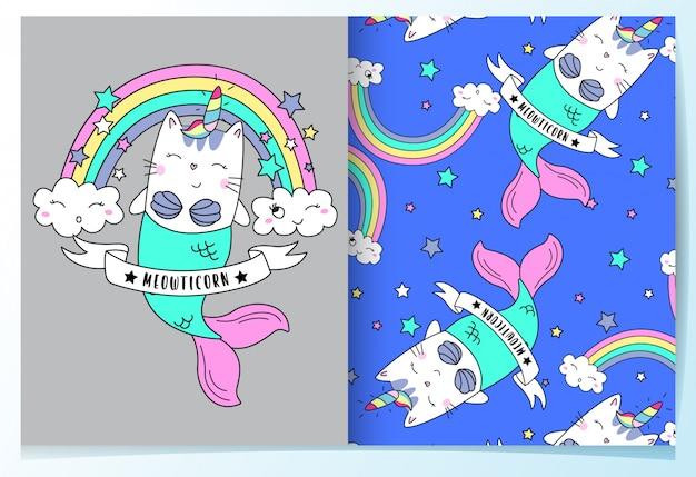 Conjunto de padrão de mão desenhada sereia gato bonito