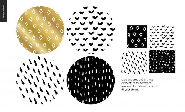 Conjunto de padrão de mão desenhada