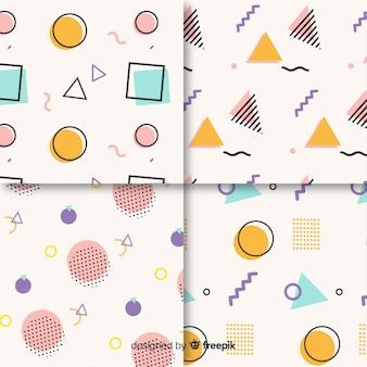 Conjunto de padrão de memphis sem costura