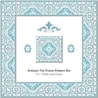 Conjunto de padrão de moldura de azulejo antigo elegante flor de renda branca azul