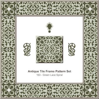 Conjunto de padrão de moldura de azulejo antigo espiral de renda verde