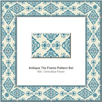 Conjunto de padrão de moldura de azulejo antigo flor azul da china oriental