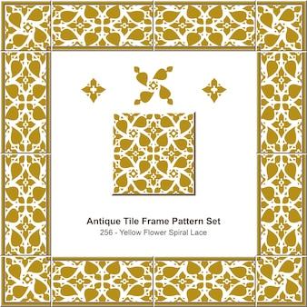 Conjunto de padrão de moldura de azulejo antigo renda espiral de flor amarela