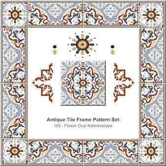 Conjunto de padrão de moldura de azulejos antigos jardim botânico royal flower oval kaleidoscope