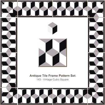 Conjunto de padrão de moldura de azulejos antigos vintage preto branco quadrado cúbico