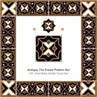 Conjunto de padrão de moldura de ladrilho antigo islam black golden cross star