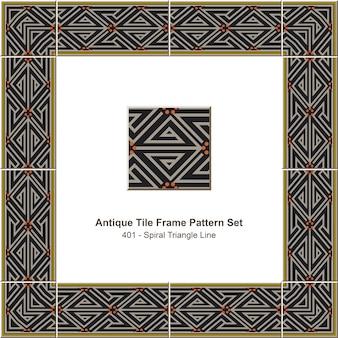 Conjunto de padrão de moldura de ladrilho antigo spiral triangle line