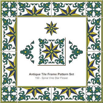 Conjunto de padrão de moldura de ladrilhos antigos jardim botânico spiral vine star flower