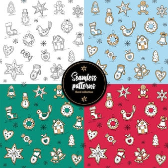 Conjunto de padrão de natal com gingerbreads.