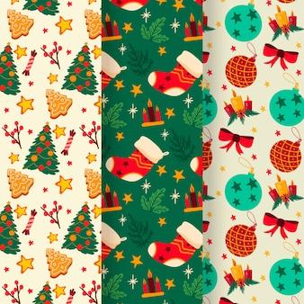 Conjunto de padrão de natal mão desenhada