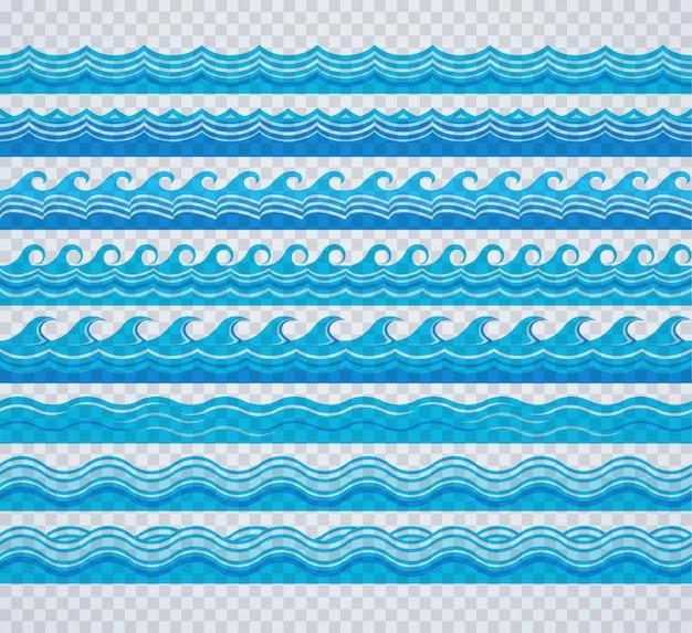 Conjunto de padrão de onda transparente azul