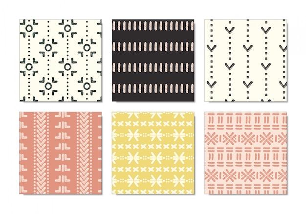 Conjunto de padrão de pano de lama tribal pastel