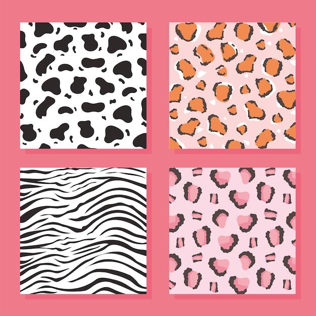 Conjunto de padrão de pele de animal selvagem, ilustração vetorial de fundo rosa