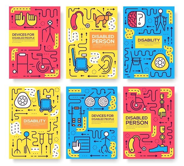 Conjunto de padrão de pessoas de cuidados de linha fina. arte desativada, revista, livro, cartaz, abstrato, banners, elemento.