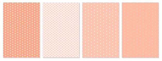 Conjunto de padrão de pontos. fundo do bebê. cor coral. ilustração vetorial. padrão de bolinhas.