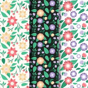 Conjunto de padrão de primavera de design plano