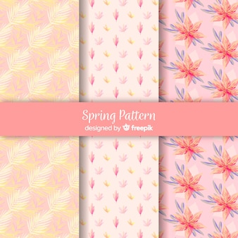 Conjunto de padrão de primavera de flores