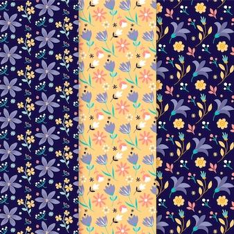 Conjunto de padrão de primavera desenhado à mão