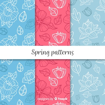Conjunto de padrão de primavera doodle