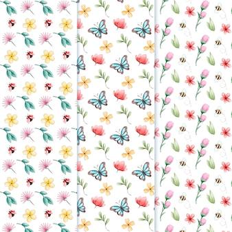 Conjunto de padrão de primavera em aquarela