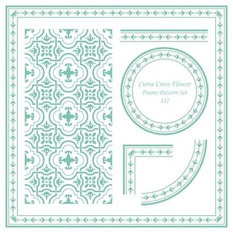 Conjunto de padrão de quadro vintage de flor cruzada curva
