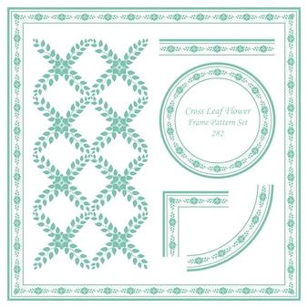 Conjunto de padrão de quadro vintage de videira de flor de folha cruzada