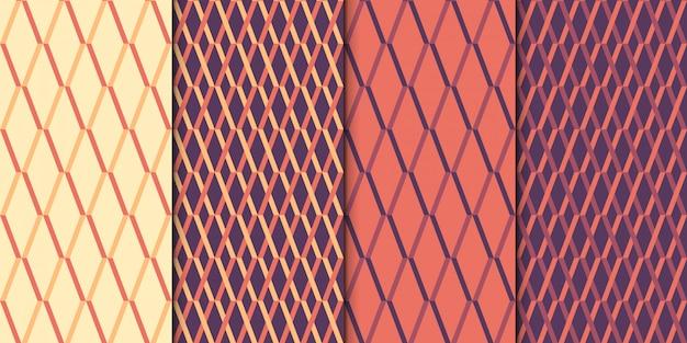 Conjunto de padrão de repetição estilo retro sem emenda.
