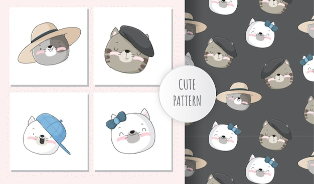 Conjunto de padrão de rosto de gatinho animal fofo
