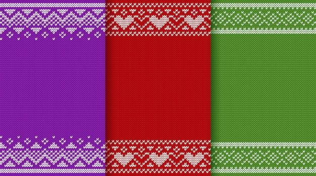 Conjunto de padrão de textura de tricô de natal