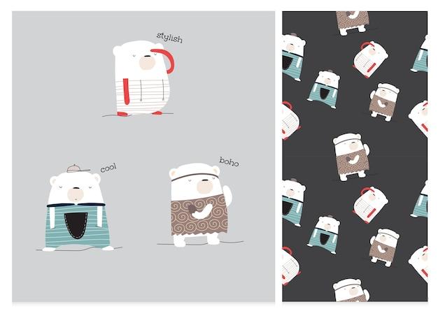 Conjunto de padrão de urso de desenho animado de coleção fofa