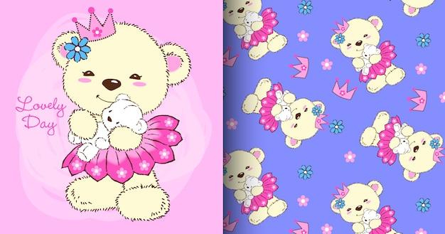 Conjunto de padrão de urso fofo desenhada de mão