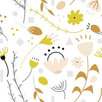 Conjunto de padrão decorativo de doodle abstrato desenhado à mão e elementos com flores coloridas