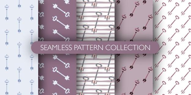 Conjunto de padrão desenhado de mão sem costura com silhuetas de chaves vintage.