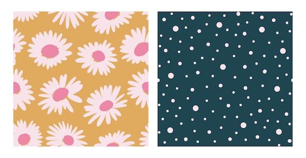 Conjunto de padrão estético contemporâneo para impressão sem costura com formas abstratas de camomila em pincel mínimo