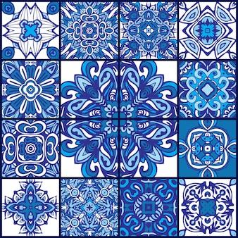 Conjunto de padrão étnico de azulejos. mosaico geométrico abstrato. padrão sem emenda azul e branco