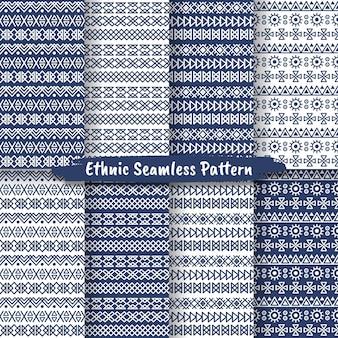 Conjunto de padrão étnico sem costura em estilo nativo, design popular, padrão tribal, decoração étnica