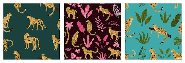 Conjunto de padrão exótico sem costura com silhuetas abstratas de leopardo