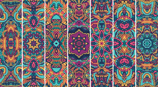 Conjunto de padrão festival mandala com design de impressão psicodélica de cor brilhante.