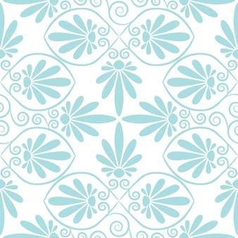 Conjunto de padrão floral grego rosa e azul fofo sem costura, textura infinita para papel de parede ou reserva de sucata