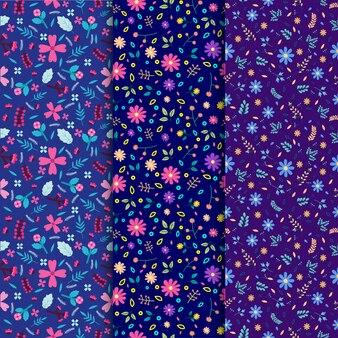 Conjunto de padrão floral sem costura, folha de natureza