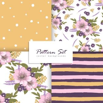 Conjunto de padrão floral sem costura