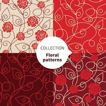 Conjunto de padrão floral vetor sem emenda