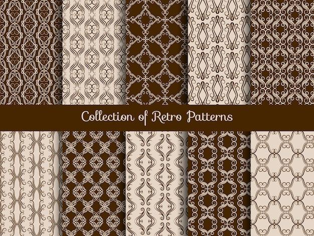 Conjunto de padrão floral vintage sem costura
