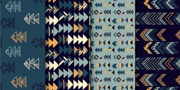 Conjunto de padrão geométrico abstrato sem costura mão desenhada