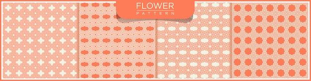 Conjunto de padrão geométrico de linha sem costura. fundo branco e laranja com enfeites de flores.