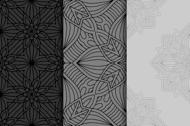 Conjunto de padrão geométrico de mandala sem emenda